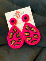 Hot pink beaded with animal print earrings