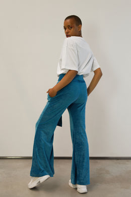 BLUE VELVET FLARE TROUSERS