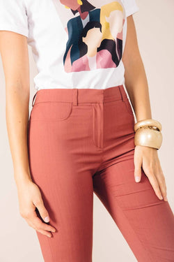 NEW-YORK TAILORED PANTS IN BRICK PINK