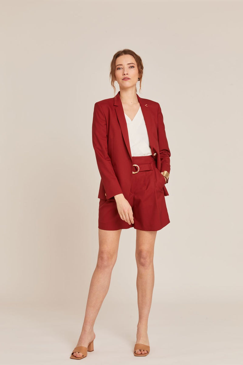SHORT TAILLEUR ROME COQUELICOT