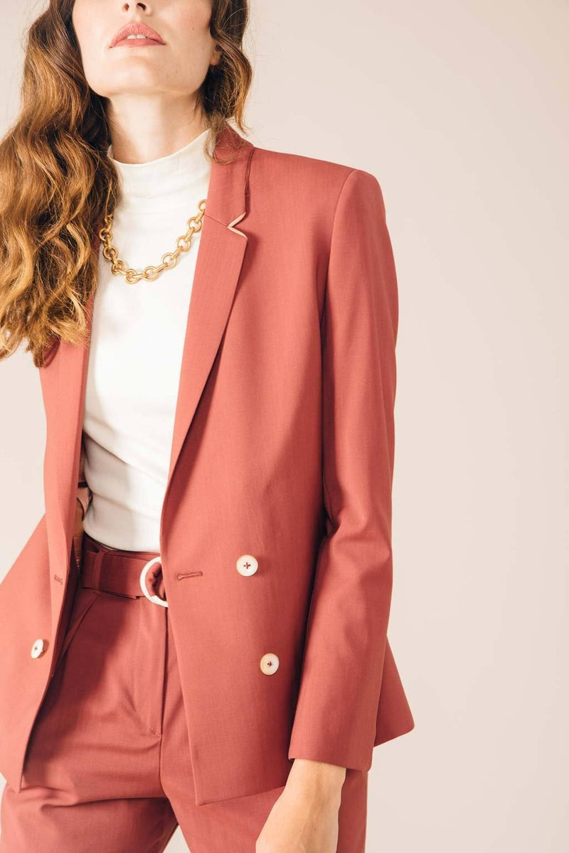 VESTE TAILLEUR BOSTON ROSE BRIQUE