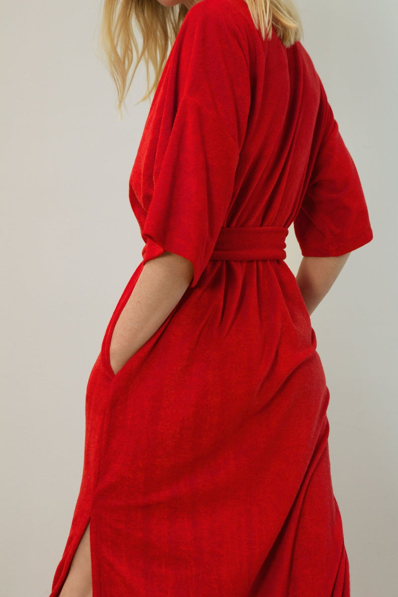ROBE VELOURS REBELLE ROUGE