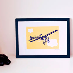 SMALL AIRPLANE POSTER - LINOGRAVURE A5