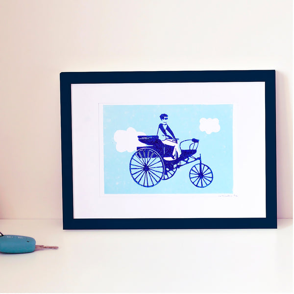 PETITE AFFICHE TRICYCLE - LINOGRAVURE A5