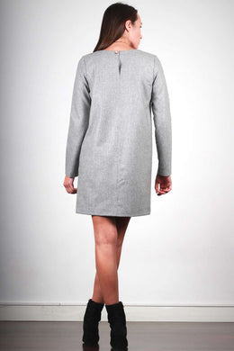 CAROLYNE DRESS IN GRAY FLANNEL