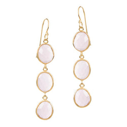 SOPHIA TRIPLE QUARTZ PINK EARRINGS