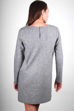 GRAY CAROLYNE WOOL CREPE DRESS