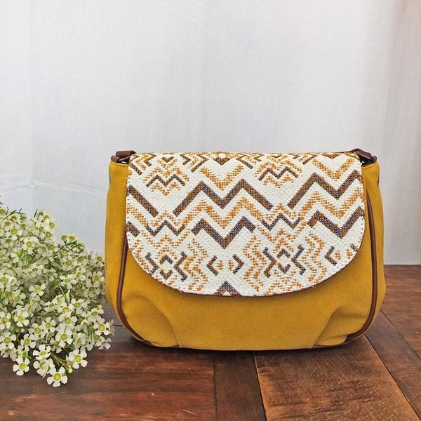 SAC BESACE FLORES JACQUARD OCRE