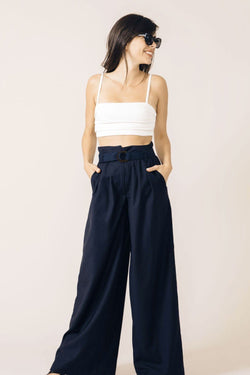 NAVY BLUE PANAMA TAILORED TROUSERS