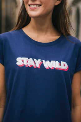 T-SHIRT STAY WILD BLEU