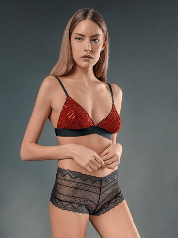 Top in Satin di Seta Nero