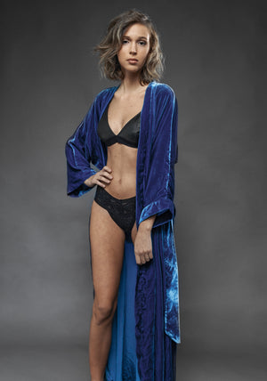 Kimono Velluto Blu - Carami - Caramì Lingerie & Activewear Made in Italy