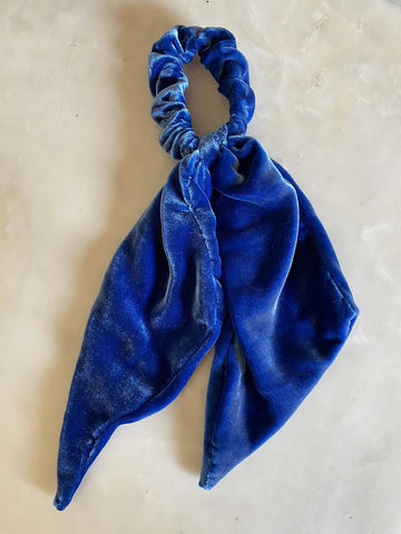 Blue Silk Velvet Top