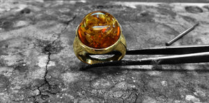 MEN'S HANDMADE JEWELLERY - AMBER GOLD RING