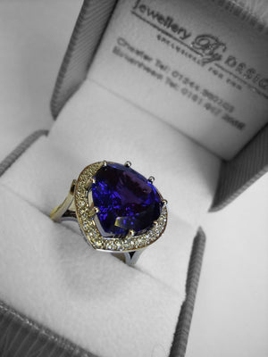LADIES HANDMADE JEWELLERY - HANDMADE TANZANITE DIAMOND RING