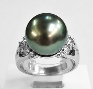 Handmade Pearl & Diamond Ring