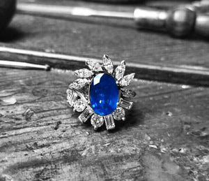 LADIES HANDMADE JEWELLERY - SAPPHIRE DIAMOND RING