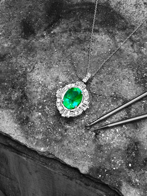 Handmade Emerald & Diamond Pendant