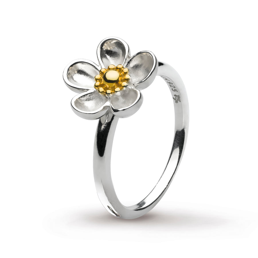 Blossom Wood Rose Large Gold Plate Ring - 10307gd