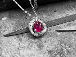 White Gold Diamond & Ruby Pendant - 2w18w-18dr-18w