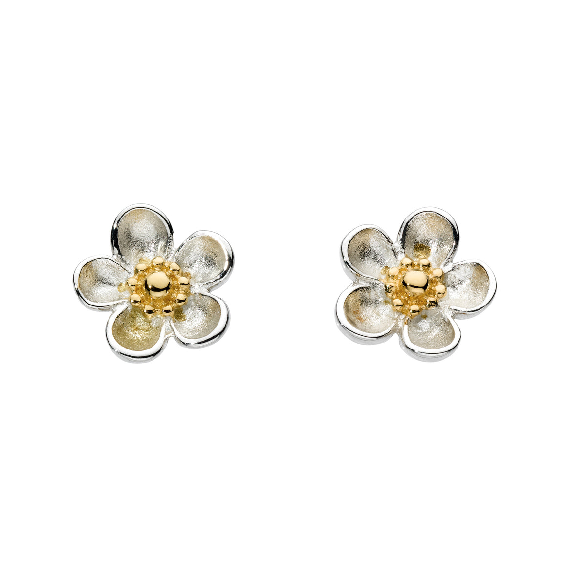 Blossom Wood Rose Gold Plate Stud Earrings - 30305gd