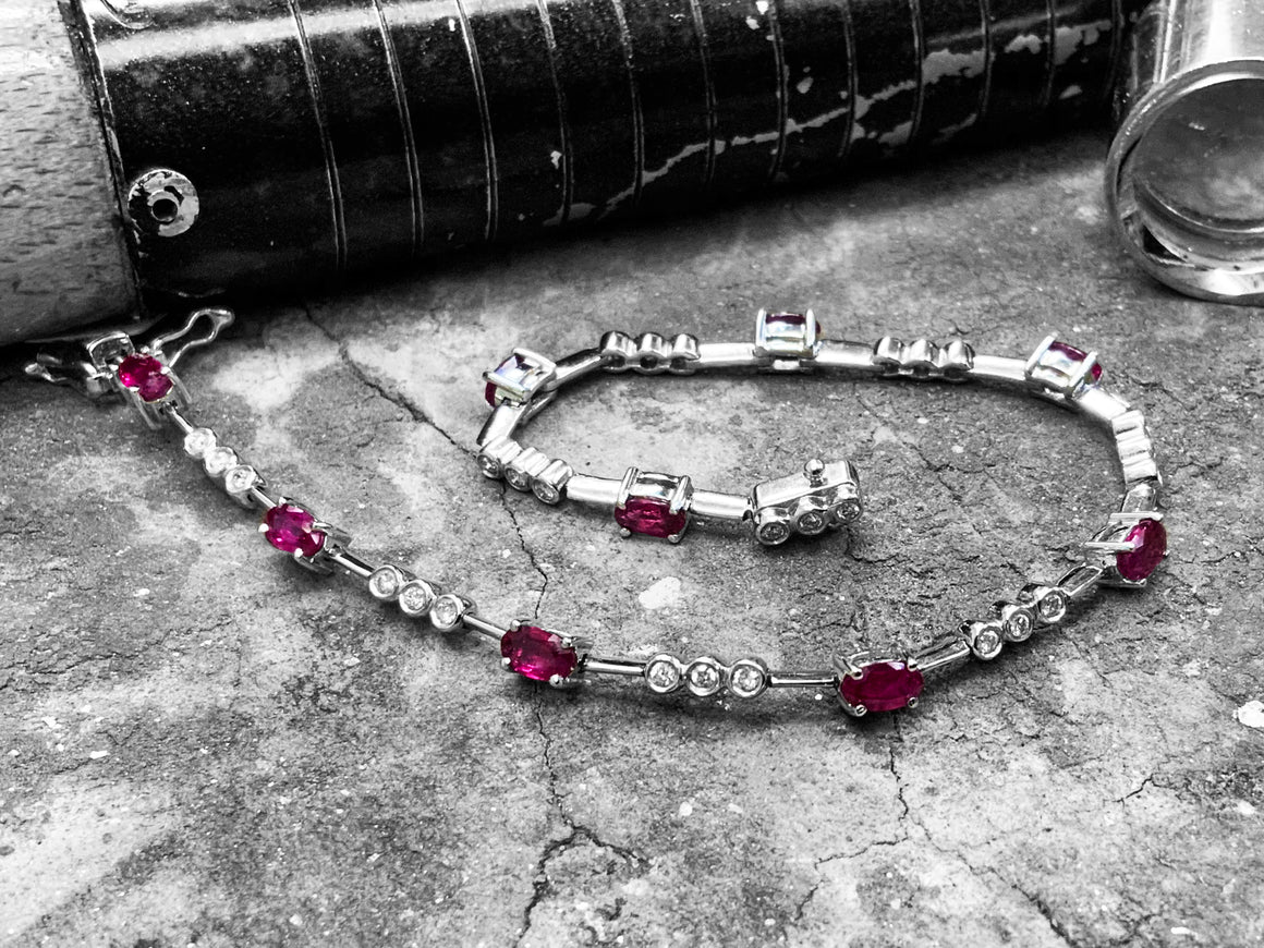 White Gold Diamond & Ruby Bracelet - 31-4060-004-0