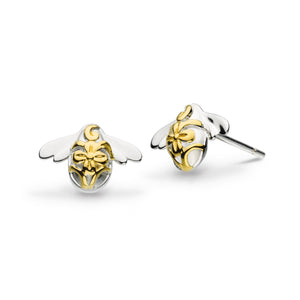 Blossom Bumblebee Gold Plated Stud Earrings - 40339gd020