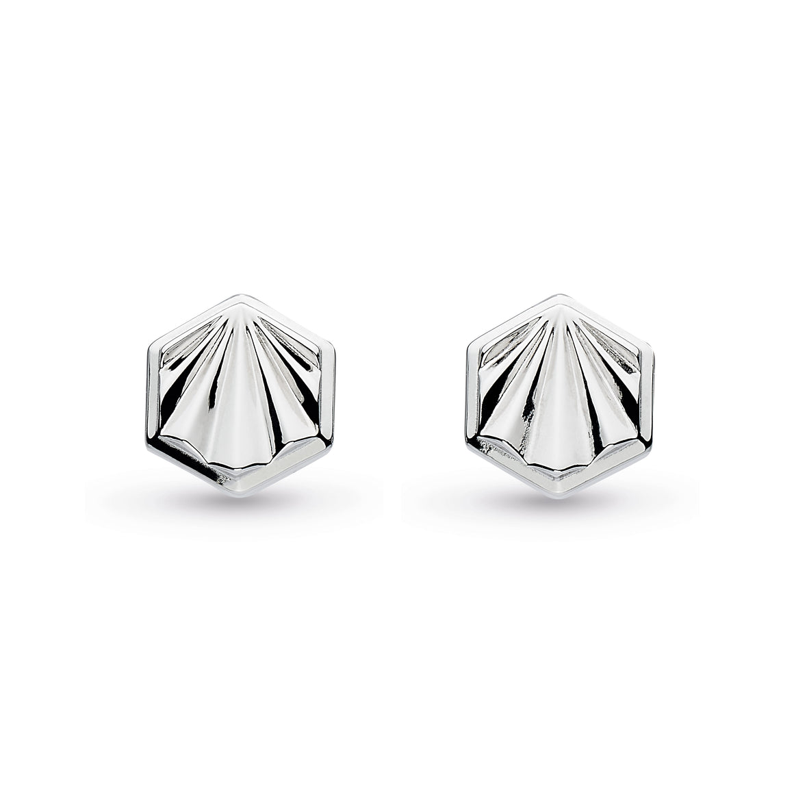 Empire Deco Hexagonal Stud Earrings - 40404rp029
