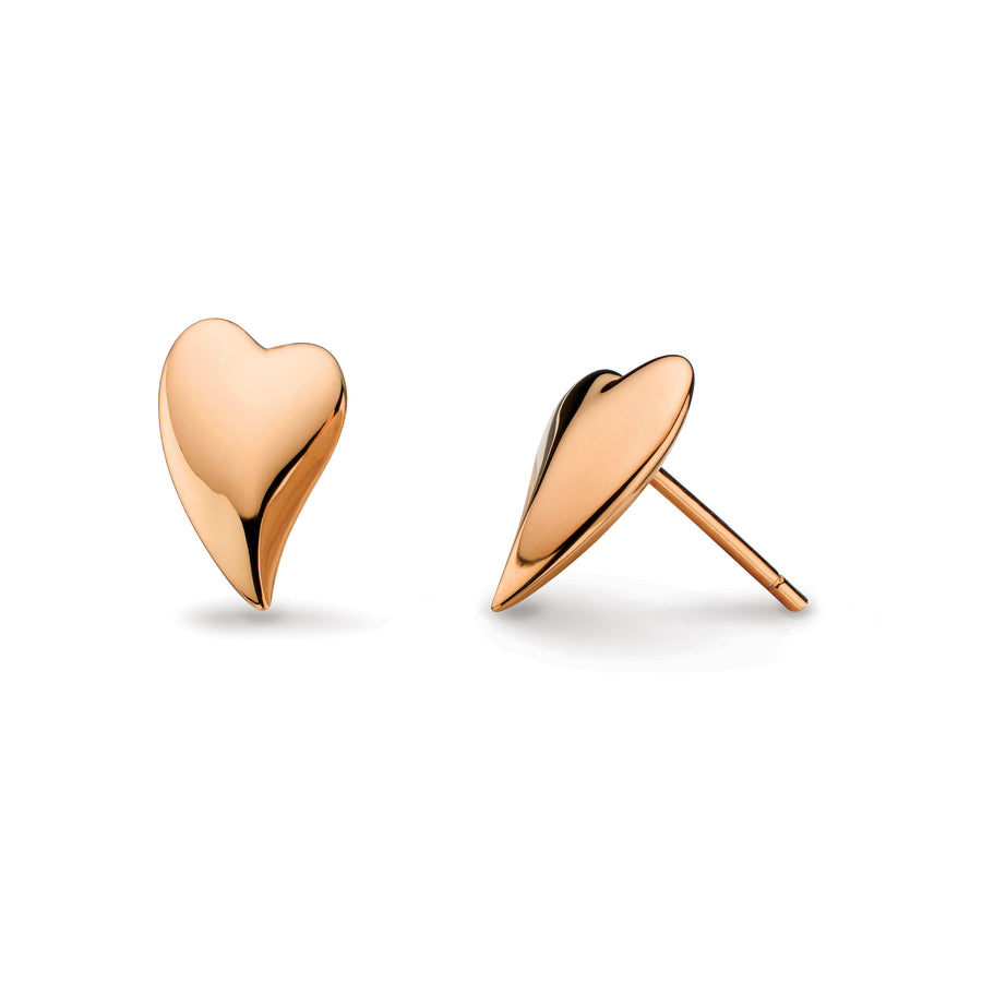 Desire Lust Heart Rose Gold Plate Stud Earrings - 40ftrg014