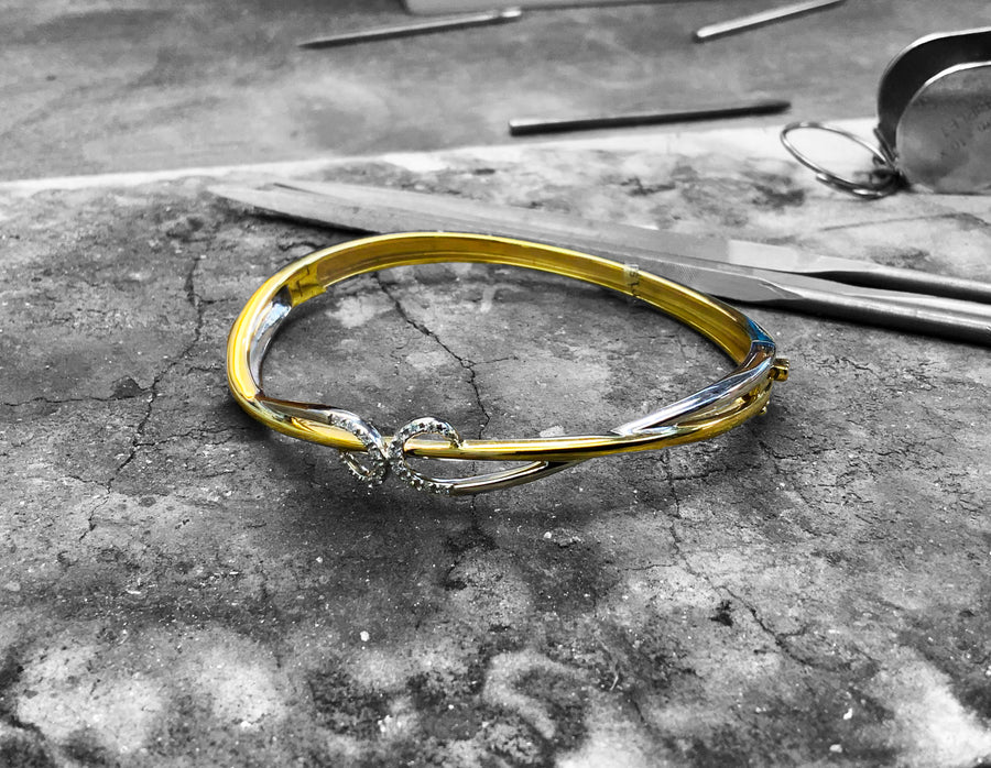 Yellow and White Gold Diamond Bangle