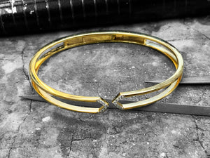 Yellow and White Gold Diamond Bangle - 51-00903-0