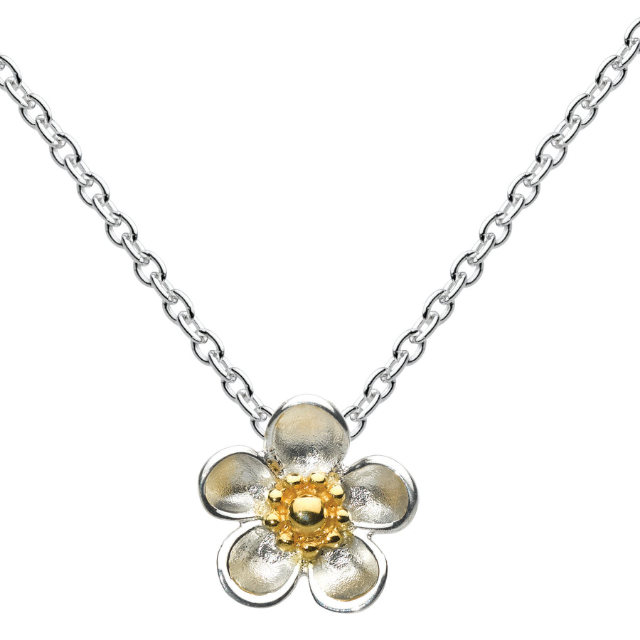 Kit Heath Silver and Gold Plated Wood Rose Necklace - 90305GD012