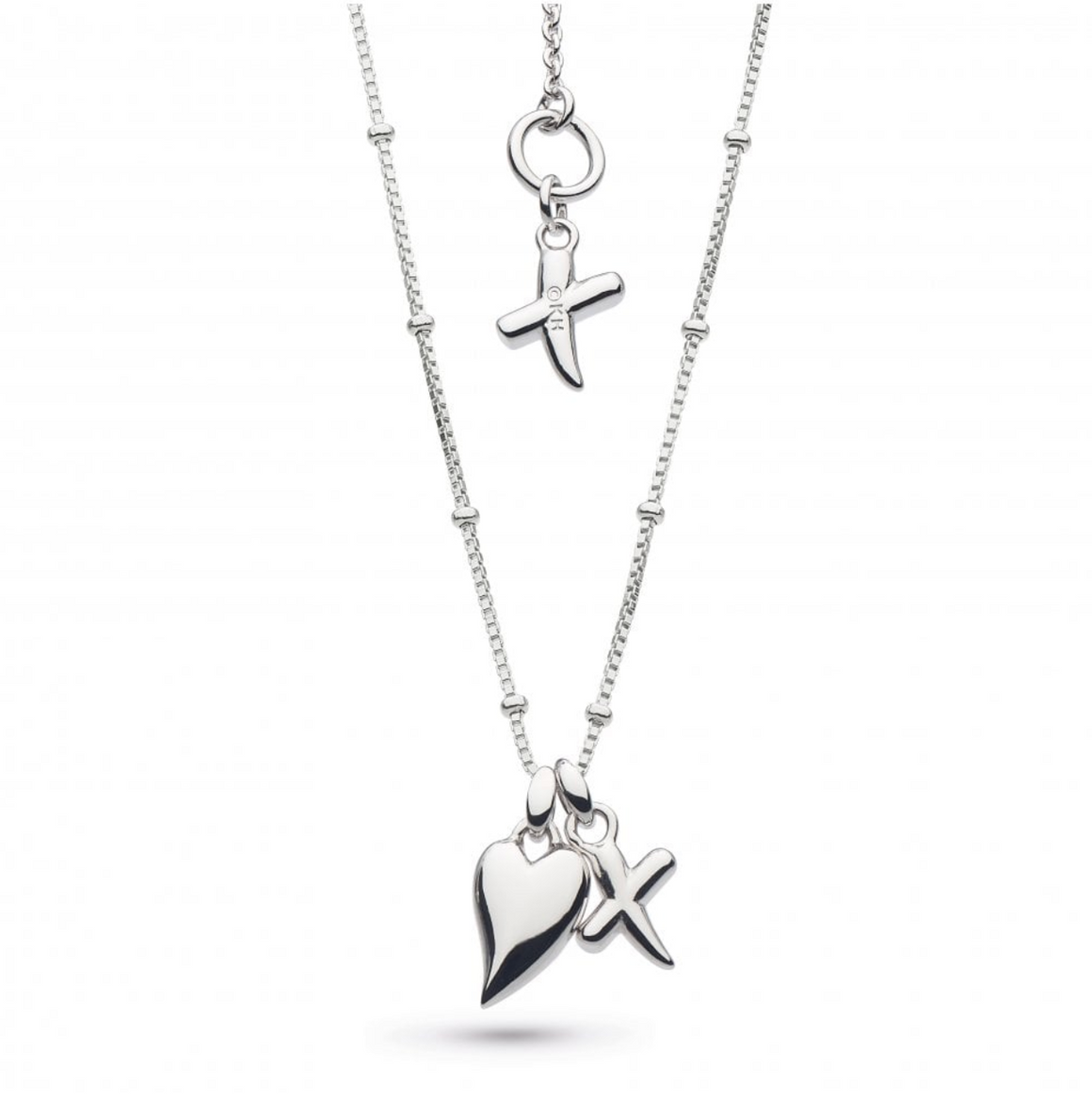 Kit Heath Desire Kiss Rhodium Plate Heart & 'X' Ball Chain Necklace - 90dk028