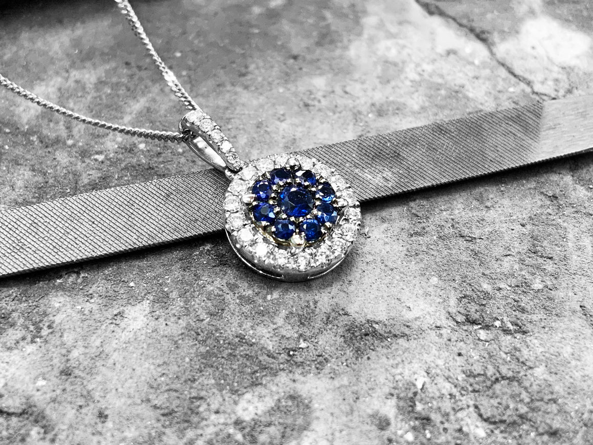 White Gold Sapphire & Diamond Pendant with Chain - 9510439110021