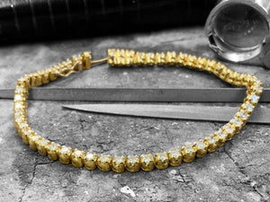 Yellow Gold Diamond Bracelet - Brc-61119c