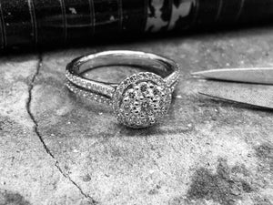 White Gold Diamond Engagement Ring - Eng3442-18w-app