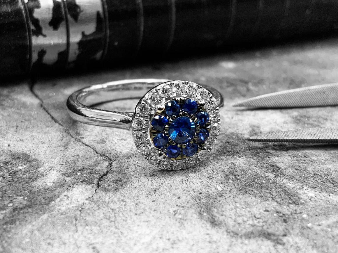 White Gold Blue Sapphire & Diamond Dress Ring - Ir5-70-bs-18w
