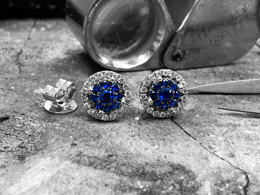 White Gold Sapphire and Diamond Earrings - Irerg3-60-pr-bs