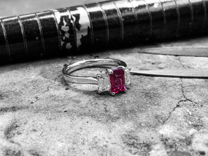 White Gold Ruby & Diamond Dress Ring  - Mw03-0350150-18