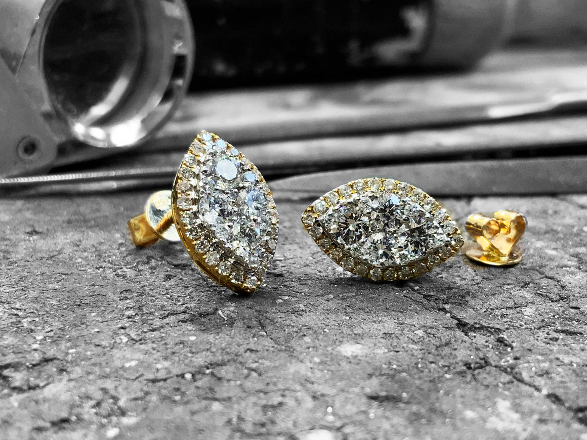 Yellow Gold Diamond Earrings - Olme1-0y-18y