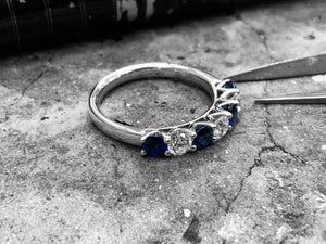 White Gold Blue Sapphire & Diamond Dress Ring - R07505s-18w