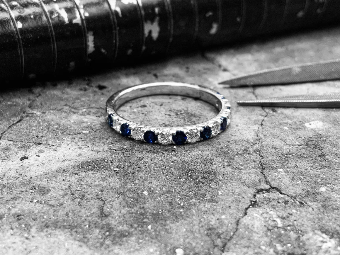 White Gold Blue Sapphire & Diamond Dress Ring - R175475s-18w