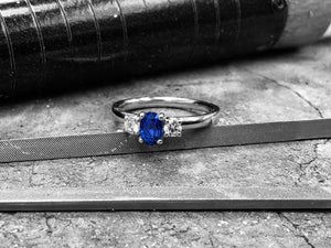 Platinum Blue Sapphire & Diamond Dress Ring - R3-1011-6x4plt0