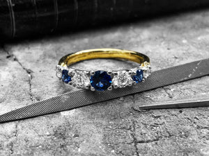 Platinum Blue Sapphire & Diamond Dress Ring - R7-2000-100-18y