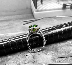 White Gold Tourmaline & Diamond Dress Ring - Rx3075-tour-18w