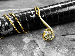 Yellow Gold Diamond Pendant with Chain - Stock-18y-dia