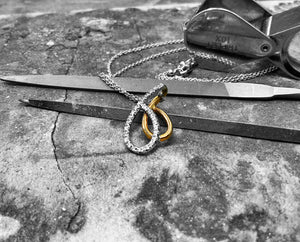 Yellow and White Gold Diamond Pendant