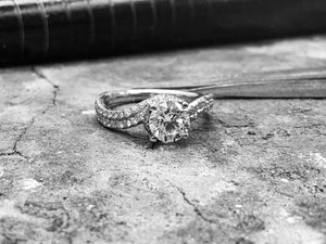 White Gold Diamond Engagement Ring - dom936-18w0217