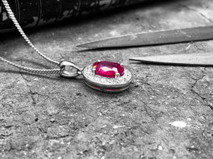 White Gold Diamond & Ruby Pendant  - dp0501-18w