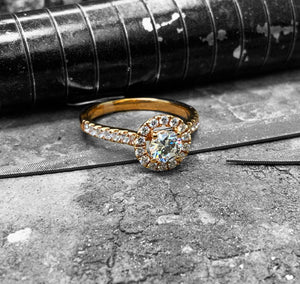 Red Gold Diamond Engagement Ring - dsc52-050-18r